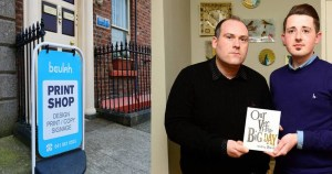 On the left, the outside of the Printing Company in Louth, and on the right a gay couple who were refused service.