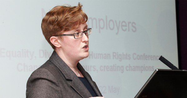 Ruth Hunt speaks at a conference