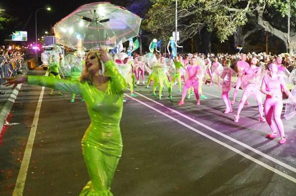 Panto leads the Sydney Queer Irish Mardi Gras team all holding umbrellas
