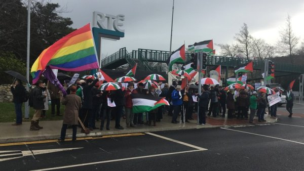 The Eurovision host has spoken out against calls for a boycott, such as that made by these protesters at RTÉ in early March