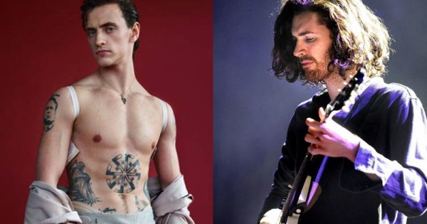 Sergei Polunin, the ballet dancer, poses topless on the left, while in the right picture Hozier looks on.