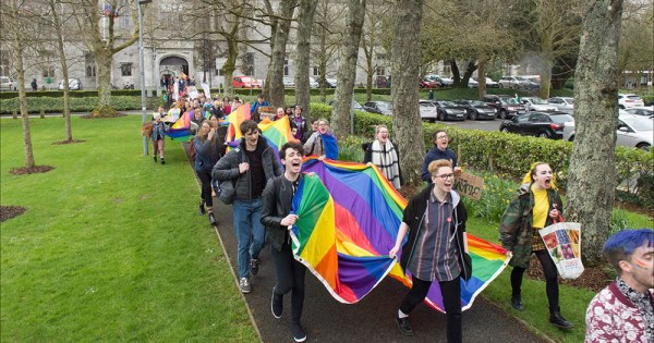Students and staff march in NUI Galway's first on-campus Pride parade