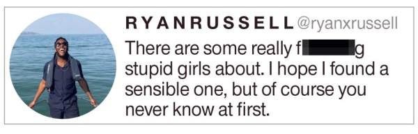 Sexist tweet by Ryan Russell