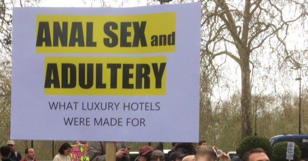 Demonstration Held At Brunei Owned Dorchester Hotel In London