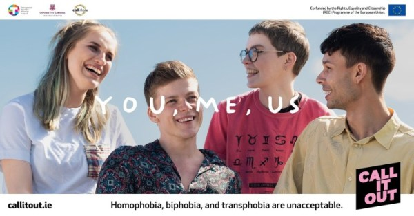 Poster for the Call It Out campaign featuring four young people laughing