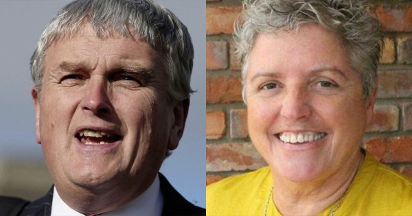 DUP Jim Wells on Left, Alison Bennington on right
