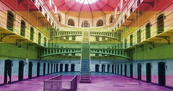 Interior of Kilmainham Gaol overlaid with rainbow colours