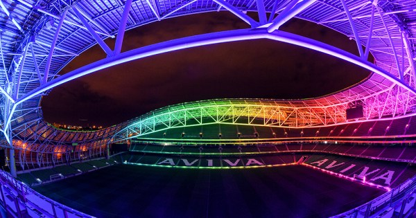 Katie McCabe in the Aviva lit up in the Rainbow flag colours