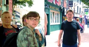 Split-screen of a group of glaring people in the streets of Cork. And on the other side a man looking nervous