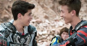 Two characters from Disney show Andi Mack looking at each other and smiling