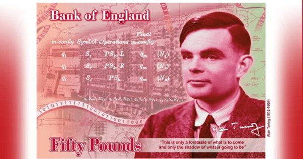 The new bank note featuring Alan Turing.