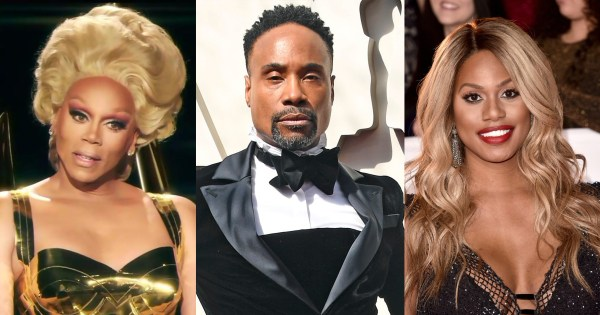Split screen of RuPaul, Billy Porter and Laverne Cox three actors nominated for 2019 Emmy Awards.