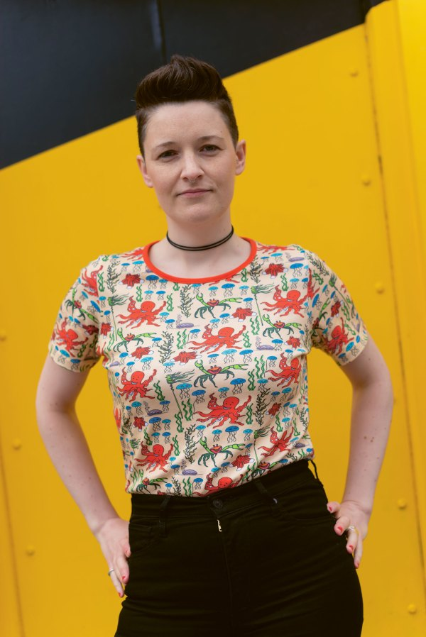 Woman wearing a floral t-shirt