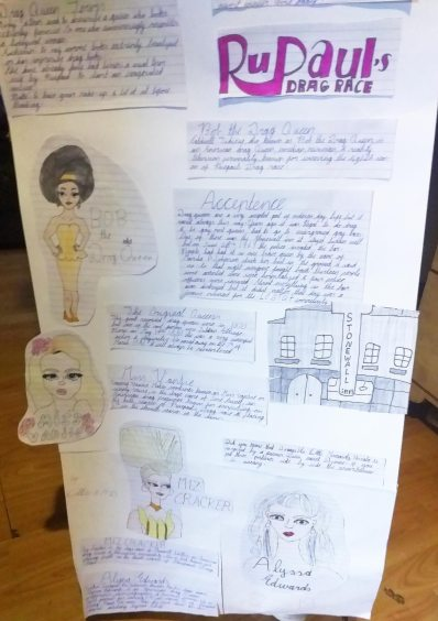 A school project made by a child with images and text describing the history of drag