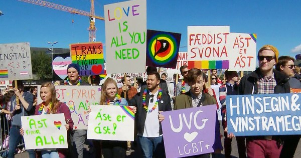 50 Years After Stonewall People commemorate Stonewall's 50th anniversary at Reykjavik Pride