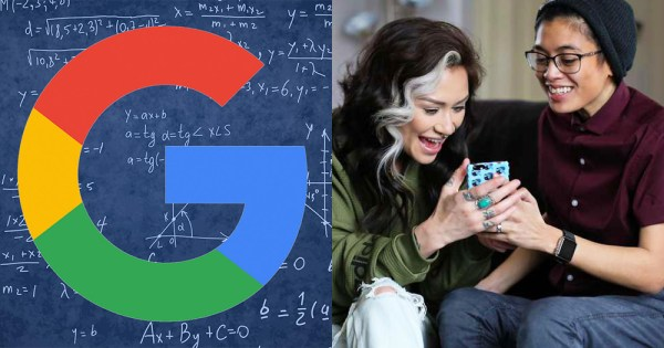 A Google algorithm split screened with a laughing female couple looking at a mobile phone screen.