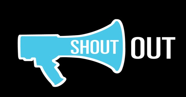 "ShoutOut's logo, a blue mega phone with white text reading ""shout out"""