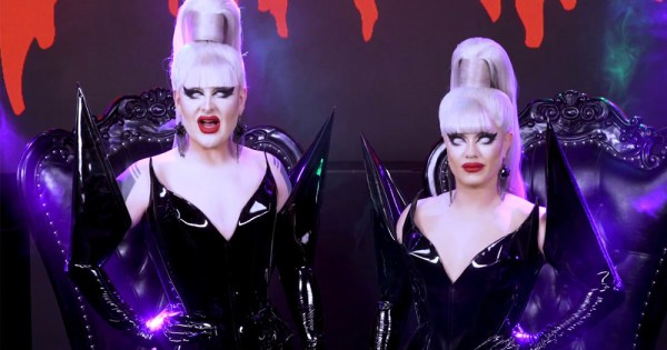 Boulet Brothers standing in front of the judges chairs during the Boulet Brothers' Dragula Season 3 trailer