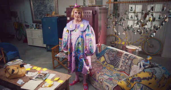 Ceramic artist Grayson Perry in his studio as his female alter-ego, Claire for a Channel 4 ad
