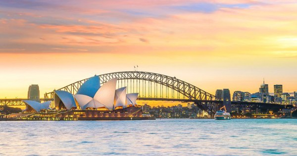 A view of Sydney Opera House during sunset
