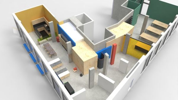 Architecture plan for Hen's Teeth's new space