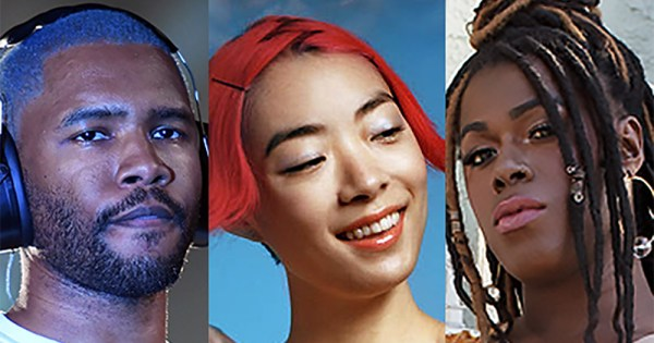 Spit-screen of three singers of colour that should be on your playlist: Frank Ocean, Rina Sawayama and Shea Diamond
