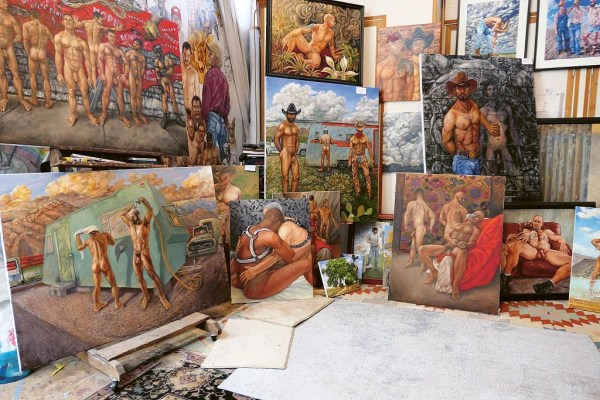 Several paintings portraying cowboys and mane nude figures by artist Delmas Howe