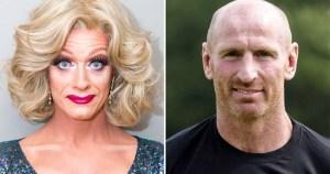 Split screen of drag queen Panti Bliss and Gareth Thomas