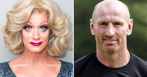 Split screen of drag queen Panti Bliss and Gareth Thomas