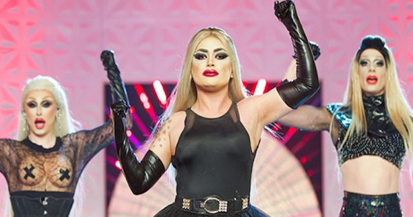 """Baga Chipz performing with the """"Frock Destroyers"""" on RuPaul's Drag Race UK"""
