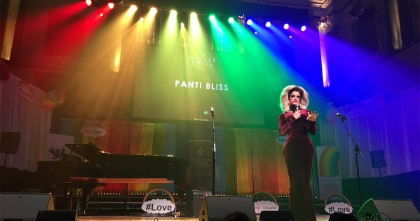 Panti Bliss on stage at the launch of Dublin Winter Pride