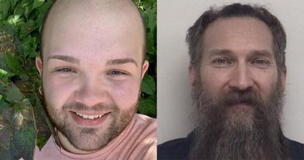 A split screen of a smiling young bald man and a mug shot of an older man with a long beard