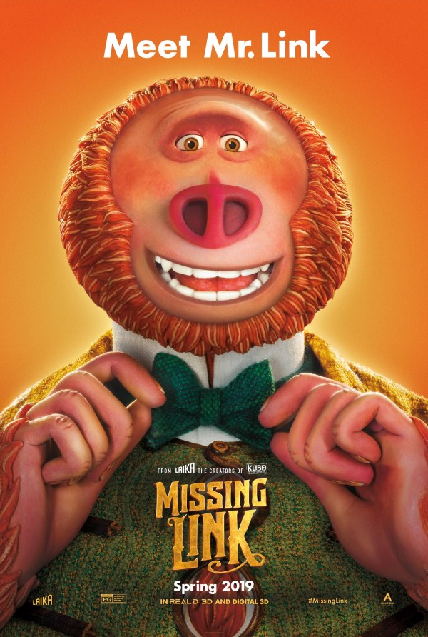Poster of movie Missing Link - close-up of Link in a bow tie and a suit