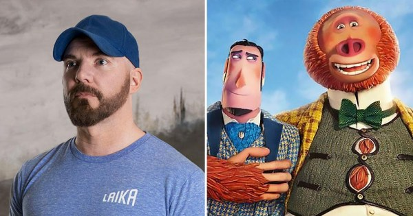 Split screen of writer and director Chris Butler and characters from Missing Link