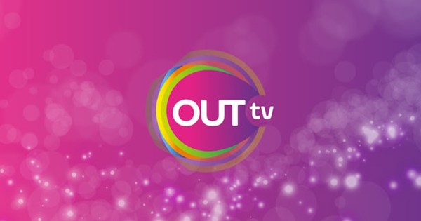 The logo for OUTtv featuring the words against a bright purple background