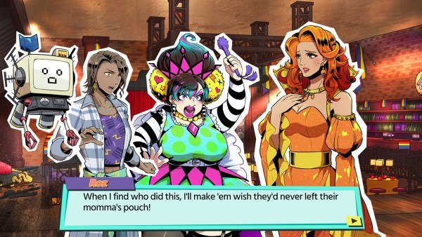 A video game still featuring three flamboyantly dressed women and a robot arguing