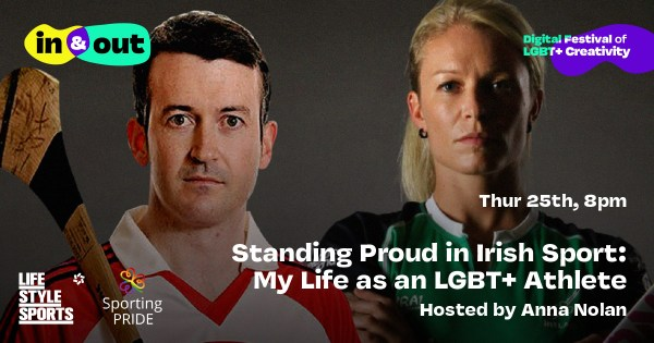Donal Og and Nikki Symmons standing side by side Poster for In and Out Pride week