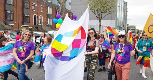 TENI supporters marching at Pride