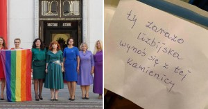 Polish Mps on left, homophobic note on right