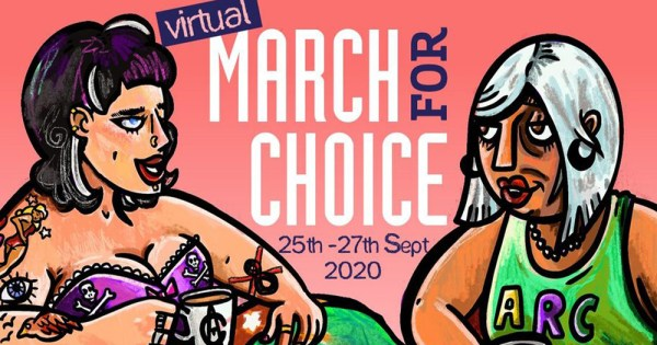 An illustration of two women for a virtual March For Choice poster
