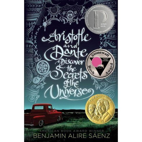 "Cover for ""Aristotle and Dante Discover the Secrets of the Universe"", a red truck out in an open field"