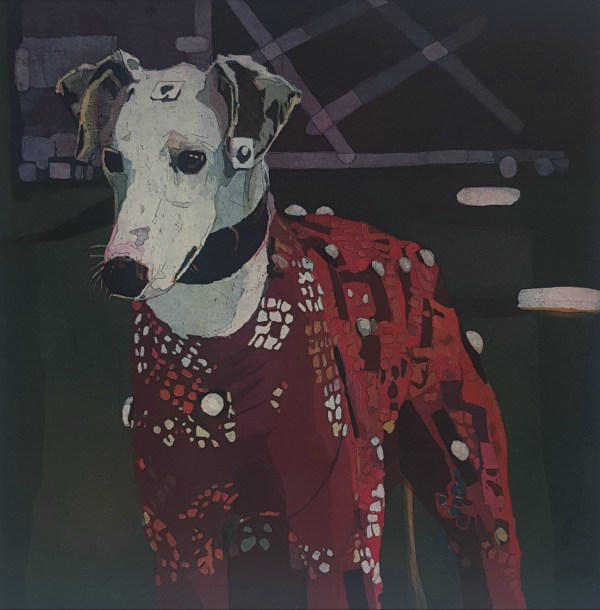 art piece, a painting of a white dog in a red sweater, up for Arthouse online auction to keep Outhouse open