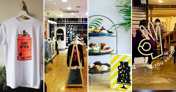 A split screen image of the interiors of four shops