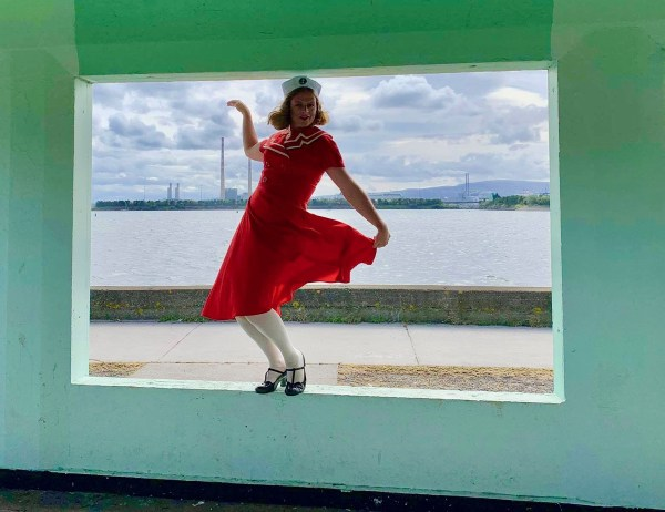A lady swinging her skirt by the sea side, a piece from the mash mash exhibition, queer happenings this week
