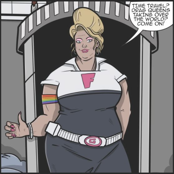 An illustration of Fanny Galactic - a drag queen in the future