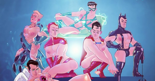 An illustration of scantily clad male superheroes