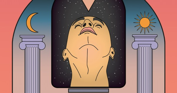 An illustration of a bald head in between two pillars