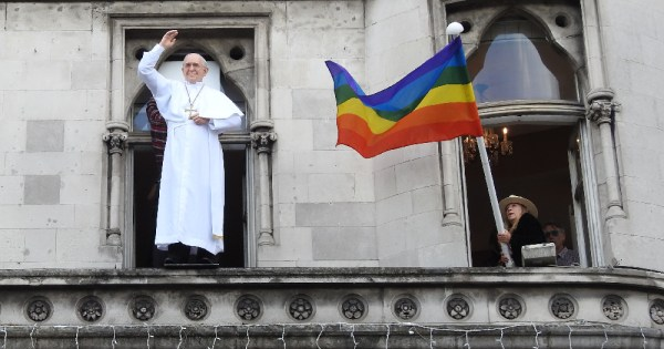 A statue of the Pope alongside a Pride flag, We Are Church Ireland recently spoke out against Vatican