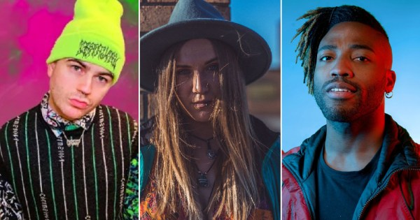 Split screen image of three queer artists who will be taking part in this online queer music event by BIMM
