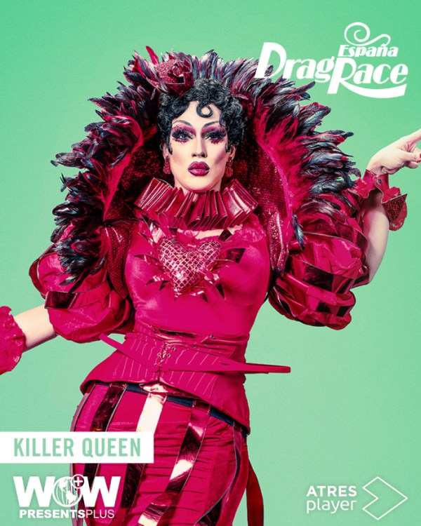 One of the contestant of Drag Race España wearing a red dress with feathers